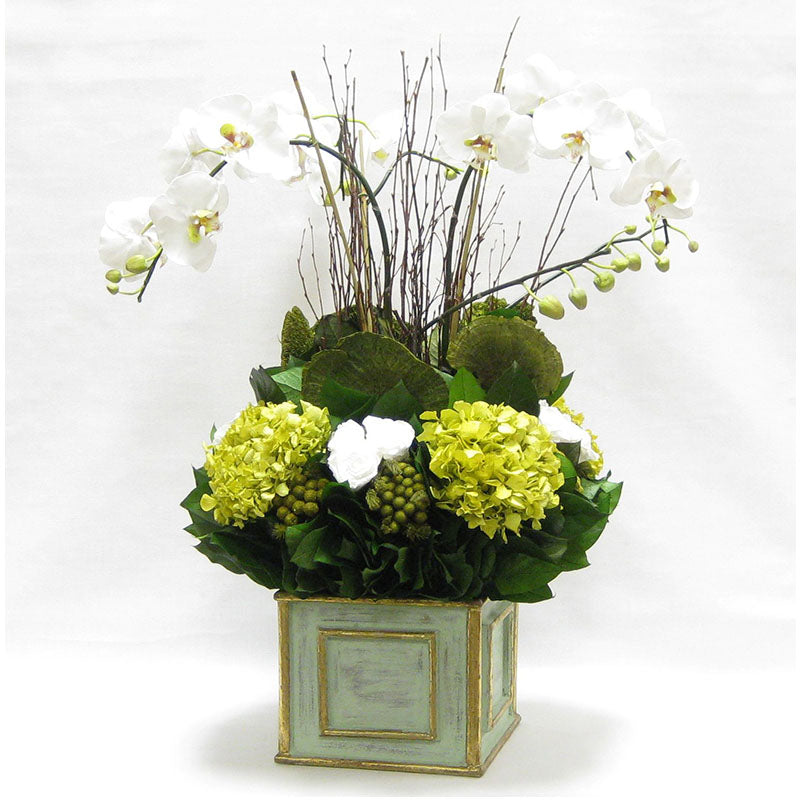 Wooden Square Container Gray/Green - Orchid Artificial, Preserved Roses, Brunia, Mushrooms, & Hydrangea Basil