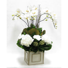 Load image into Gallery viewer, Wooden Square Container - Antique Gray w/ Silver - Orchid Artificial, Preserved Roses, Brunia, Mushrooms, & Hydrangea White