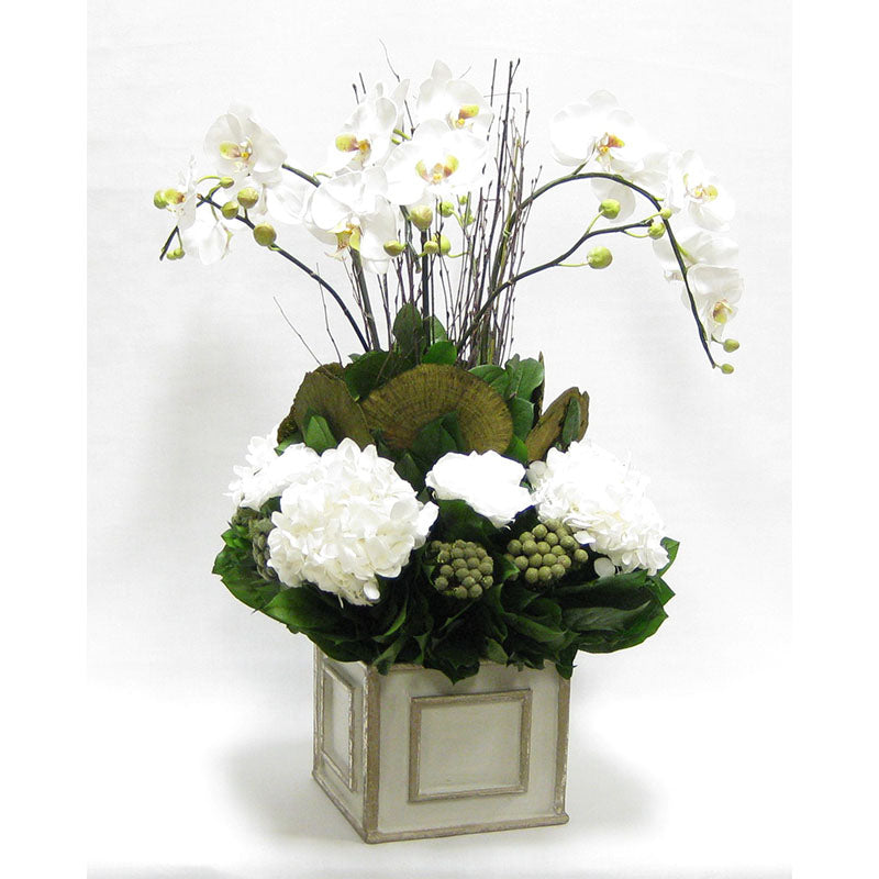 Wooden Square Container - Antique Gray w/ Silver - Orchid Artificial, Preserved Roses, Brunia, Mushrooms, & Hydrangea White