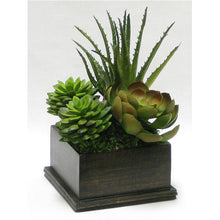 Load image into Gallery viewer, [WSPE-BA-SUBG] Wooden Square Container Black Antique - Succulents Green & Burgundy Artificial