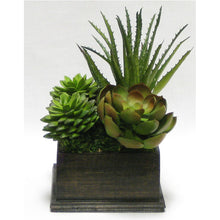 Load image into Gallery viewer, Wooden Square Container Black Antique - Succulents Green & Burgundy Artificial