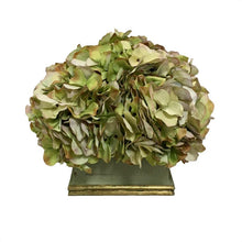 Load image into Gallery viewer, wooden Square Planter Grey Green w/ Gold - Artificial Hydrangea Green