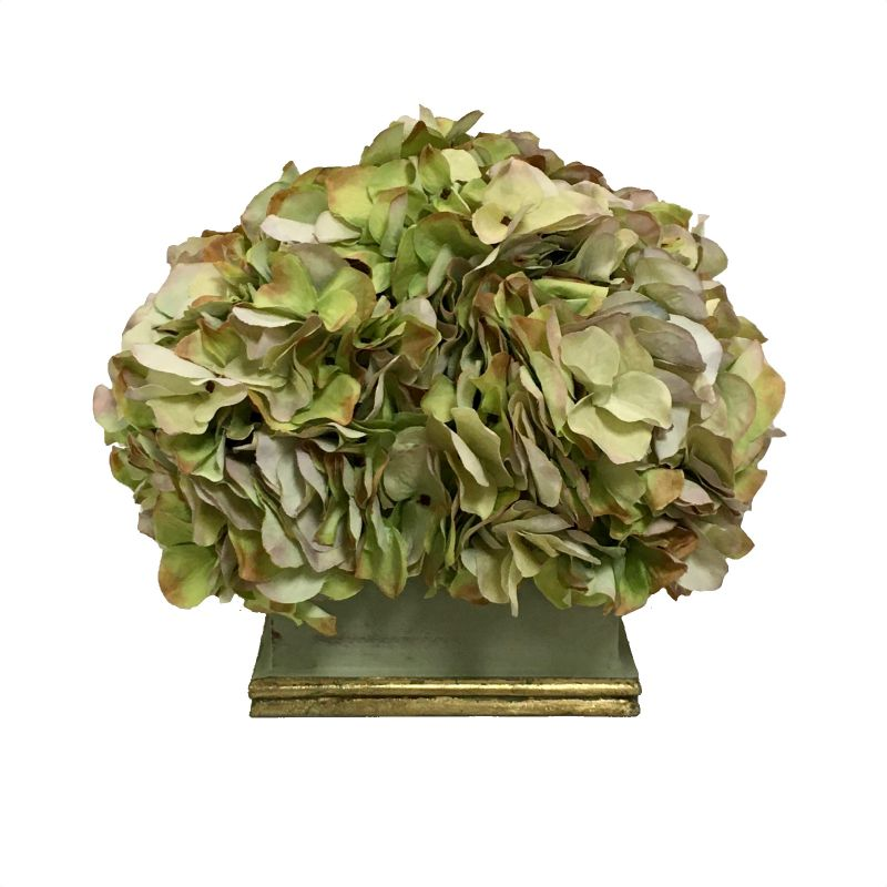 wooden Square Planter Grey Green w/ Gold - Artificial Hydrangea Green