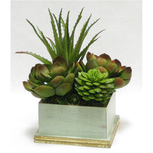 Load image into Gallery viewer, [WSPE-GG-SUGRN] Wooden Square Planter - Gray Green w/ Gold - Succulents Green Artificial