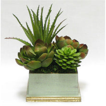 Load image into Gallery viewer, Wooden Square Planter - Gray Green w/ Gold - Succulents Green Artificial