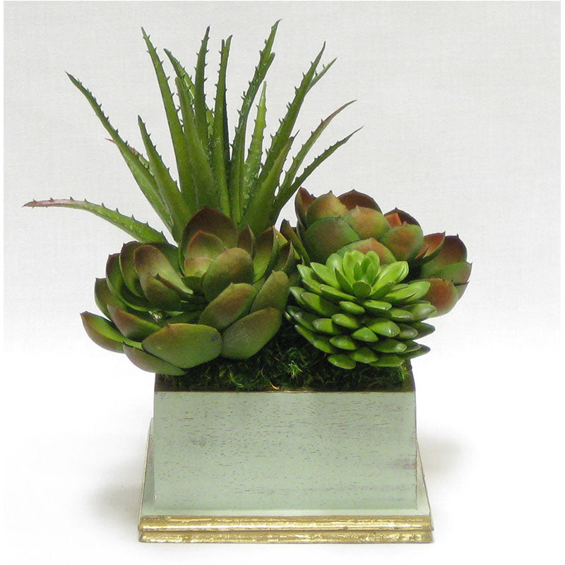 Wooden Square Planter - Gray Green w/ Gold - Succulents Green Artificial
