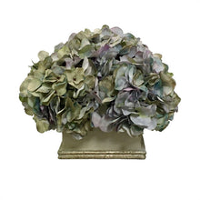 Load image into Gallery viewer, Wooden Square Planter Grey Green w/ Gold - Artificial Hydrangea Aqua