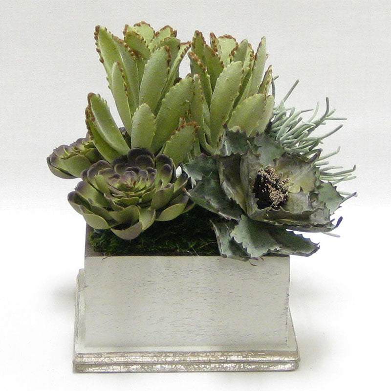 Wooden Square Container - Antique Gray w/ Silver - Succulents Sage Artificial