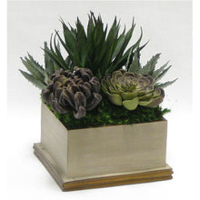 Load image into Gallery viewer, [WSPE-PD-SUPU] Wooden Square Container Patina Distressed w/Bronze - Succulents Sage & Purple Artificial