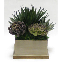 Load image into Gallery viewer, Wooden Square Container Patina Distressed w/Bronze - Succulents Sage & Purple Artificial