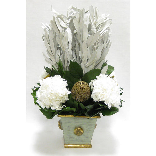 Wooden Square Container w/ Medallion Gray/Green - Integ White, Banksia Gold & Hydrangea White