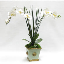 Load image into Gallery viewer, Wooden Square Container w/ Medallion Gray/Green - Double White & Yellow Orchid Artificial w/ Palm