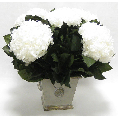 Wooden Square Container w/ Medallion Grey Silver - Hydrangea White