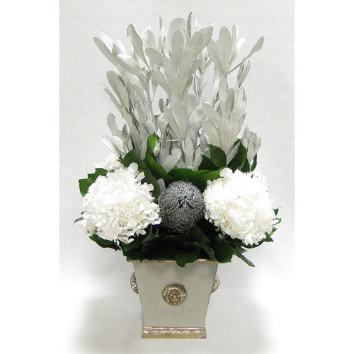 Wooden Square Container w/ Medallion Grey Silver - Integ White, Banksia Silver & Hydrangea White