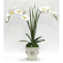 Load image into Gallery viewer, Wooden Square Container w/ Medallion Grey Silver - Double White & Yellow Orchid Artificial w/ Palm