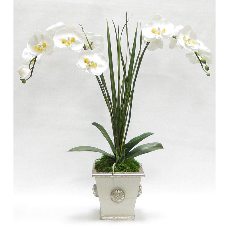 Wooden Square Container w/ Medallion Grey Silver - Double White & Yellow Orchid Artificial w/ Palm