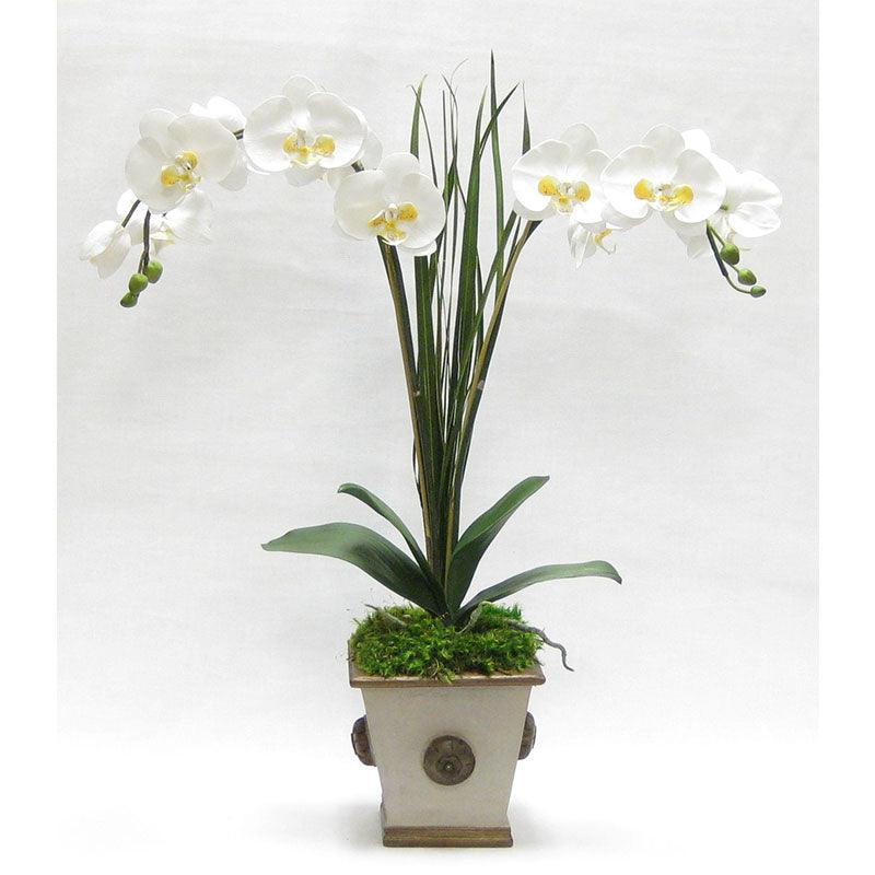 Wooden Square w/Medallion Container Patina Distressed w/Bronze - Double White & Yellow Orchid Artificial w/ Palm