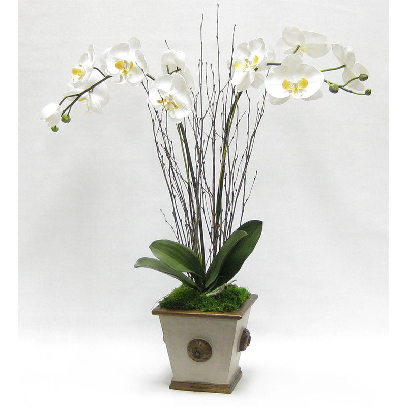 Wooden Square w/Medallion Container Patina Distressed w/Bronze - Double White & Yellow Orchid Artificial