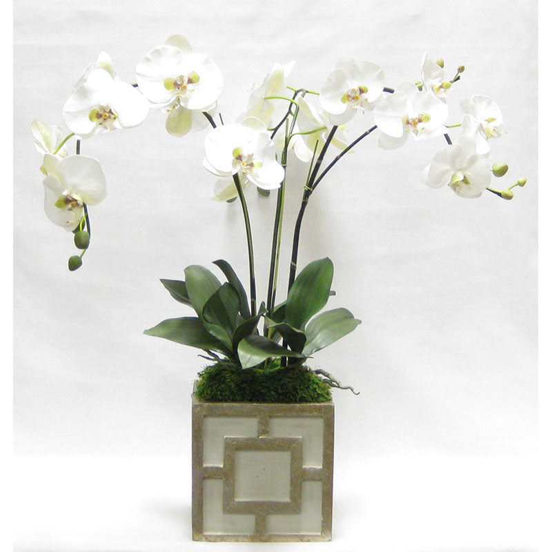 Wooden Square Container w/ Square - Green w/ Antique Gold - White & Green Orchid Artificial