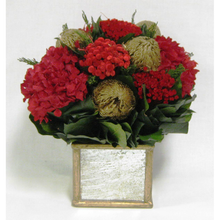 Load image into Gallery viewer, Wooden Square Container Gold Antique Mirror - Banksia Gold & Hydrangea Red