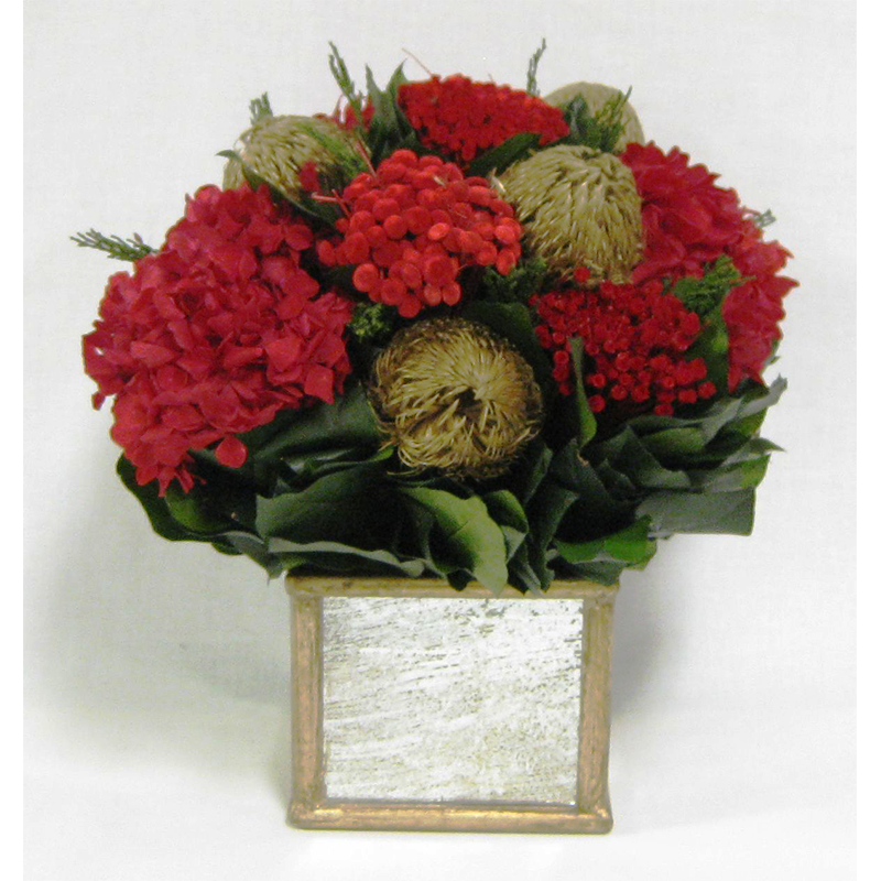Wooden Square Container Gold Antique Mirror - Banksia Gold & Hydrangea Red
