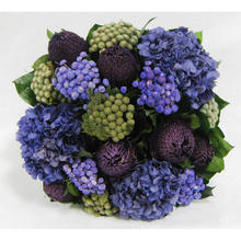 Load image into Gallery viewer, [WSPS-SAM-BKHDPU] Wooden Square Container Silver Antique  Mirror - Banksia Purple, Brunia Natural & Hydrangea Purple