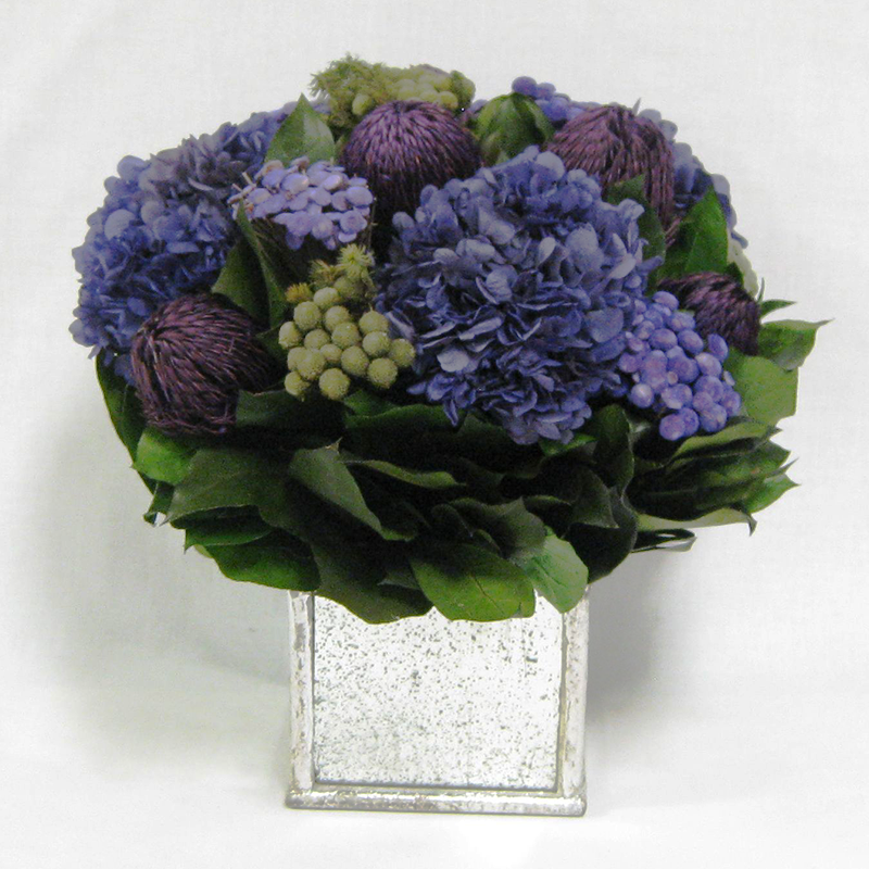 Wooden Square Container Silver Antique  Mirror - Banksia Purple, Brunia Natural & Hydrangea Purple