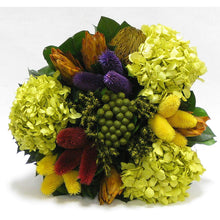 Load image into Gallery viewer, [WSRN-BA-MLP2] Wooden Short Round Black Container - Clover Flower Multicolor, Protea Yellow & Hydrangea Basil