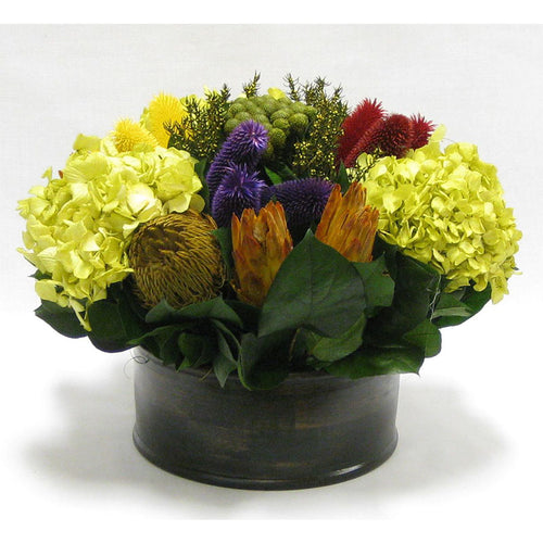 Wooden Short Round Black Container - Clover Flower Multicolor, Protea Yellow & Hydrangea Basil