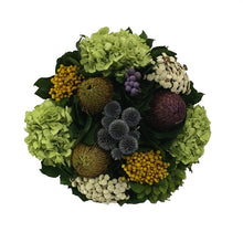 Load image into Gallery viewer, [WSRN-DG-ECHDB] Wooden Short Round Container Dark Blue Grey w/ Gold - Echinops w/Banksia, Brunia, Pharalis & Hydrangea Basil