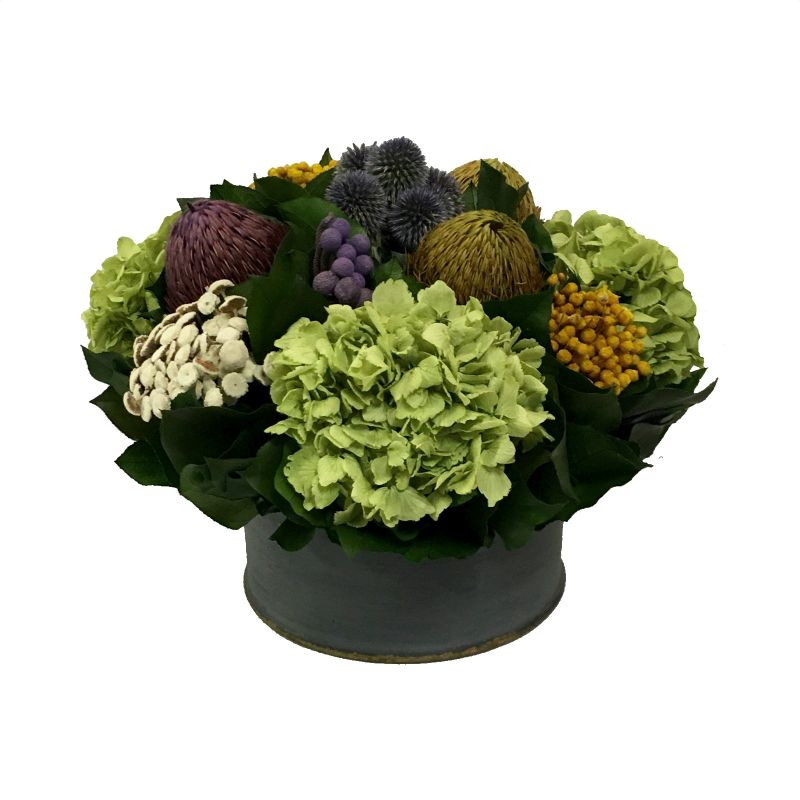 Wooden Short Round Container Dark Blue Grey w/ Gold - Echinops w/Banksia, Brunia, Pharalis & Hydrangea Basil