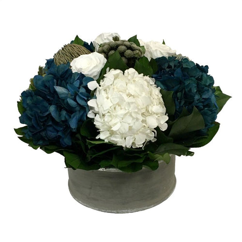 Wooden Short Round Container Dark Grey  w/ Silver - Roses White, Brunia Natural Brunia, Hydrangea Natural Blue & White