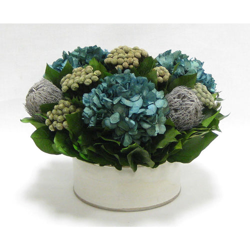 Wooden Short Round Container - Grey w/ Silver - Banksia Gray, Brunia Natural & Hydrangea Natural Blue
