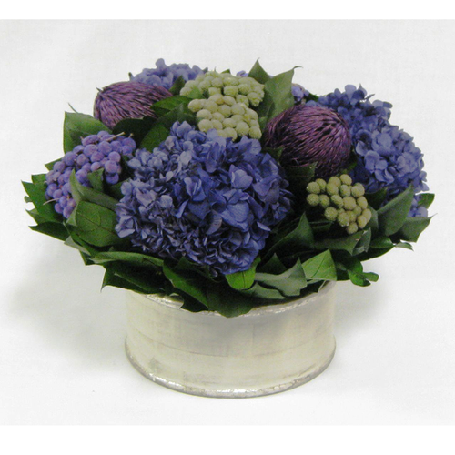 Wooden Short Round Container Antique Silver - Banksia Purple, Brunia Natural & Hydrangea Purple