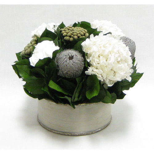 Wooden Short Round Grey Silver Container - Roses White, Banksia Lt. Grey, Brunia Natural & Hydrangea White