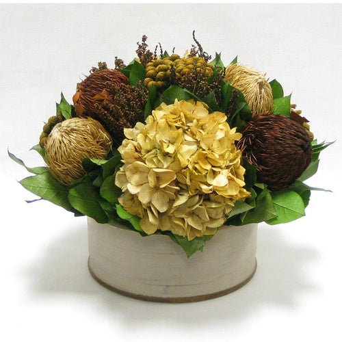 Wooden Short Round Container Patina Distressed w/Bronze - Multi Brown and Hydrangea Ivory