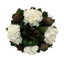 Load image into Gallery viewer, [WSRN-PD-RBKBZHDW] Wooden Short Round Container Patina Distressed w/Bronze - Roses White, Banksia Bronze, Brunia Brown & Hydrangea White