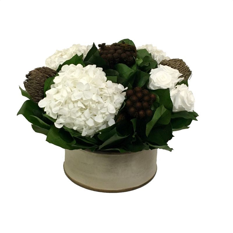 Wooden Short Round Container Patina Distressed w/Bronze - Roses White, Banksia Bronze, Brunia Brown & Hydrangea White