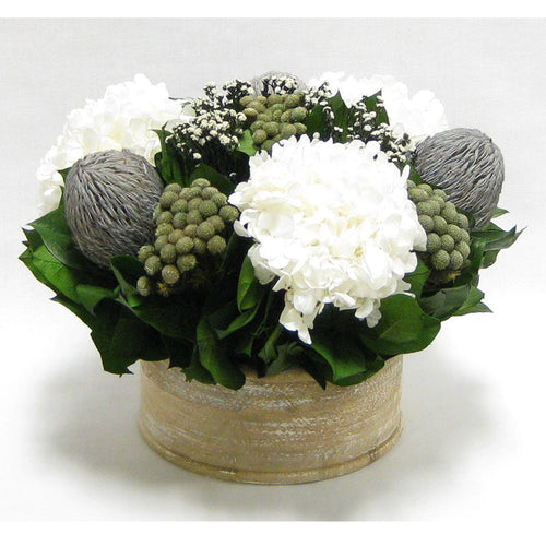 Wooden Short Round Natural Container - Banksia Lt. Grey, Brunia Natural, Phylica White & Hydrangea White