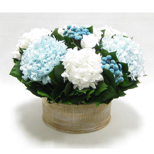 Wooden Short Round Natural Container - Roses White, Buttons Blue, Hydrangea Ice Blue & White