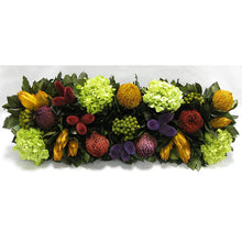 Load image into Gallery viewer, [WSRP-BA-MLP5] Wooden Rect. Container Antique Black - Banksia Red, Purple, Yellow, Teasil Burgundy, Purple & Hydrangea Basil