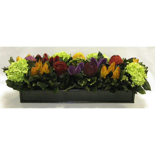 Wooden Rect. Container Antique Black - Banksia Red, Purple, Yellow, Teasil Burgundy, Purple & Hydrangea Basil