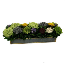 Load image into Gallery viewer, [WSRP-DG-ECHDB] Wooden Short Rect Container Dark Blue Grey w/ Gold - Echinops w/Banksia, Brunia, Pharalis & Hydrangea Basil
