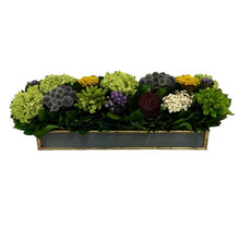 Load image into Gallery viewer, Wooden Short Rect Container Dark Blue Grey w/ Gold - Echinops w/Banksia, Brunia, Pharalis & Hydrangea Basil