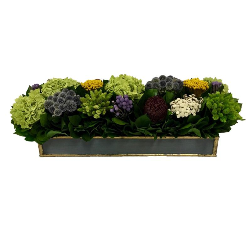Wooden Short Rect Container Dark Blue Grey w/ Gold - Echinops w/Banksia, Brunia, Pharalis & Hydrangea Basil