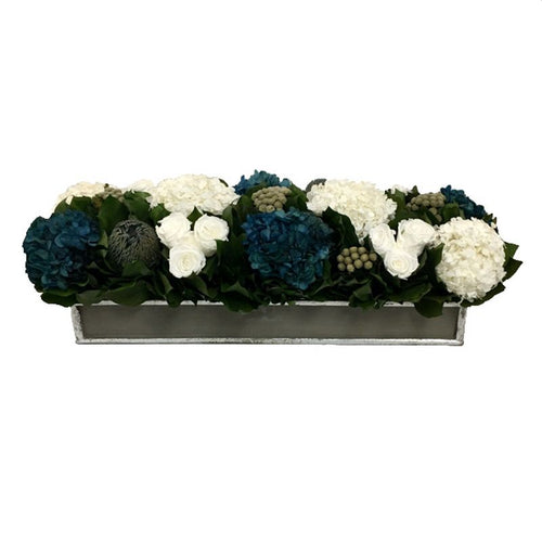 Wooden Short Rect Container Dark Grey w/ Silver - Roses White, Brunia Natural Brunia, Hydrangea Natural Blue & White