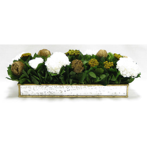 Wooden Short Rect Gold w/ Antique Mirror Container - Roses White, Banksia Gold, Brunia Gold & Hydrangea White