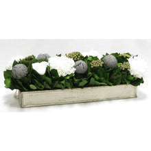 Load image into Gallery viewer, [WSRP-GS-RBKBRHDW] Wooden Rect. Container Antique Silver- Roses White, Banksia Lt Grey, Brunia Nat & Hydrangea White