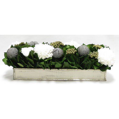 Wooden Rect. Container Antique Silver- Roses White, Banksia Lt Grey, Brunia Nat & Hydrangea White