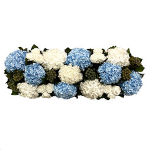 Load image into Gallery viewer, [WSRP-GS-RHDIBHDW] Wooden Rect. Container Antique Silver - Roses White, Brunia Natural, Hydrangea White & Ice Blue